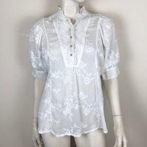 Akemi + Kin Anthropologie white lace prairie top S